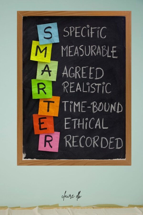 """SMARTER Goal setting. """"Specific, Measurable, Agreed, Realistic, Time-Bound, Ethical, Recorded"""""""