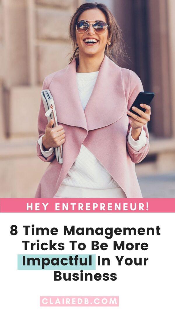 Time management tricks for entrepreneurs - happy, wealthy, female entrepreneur